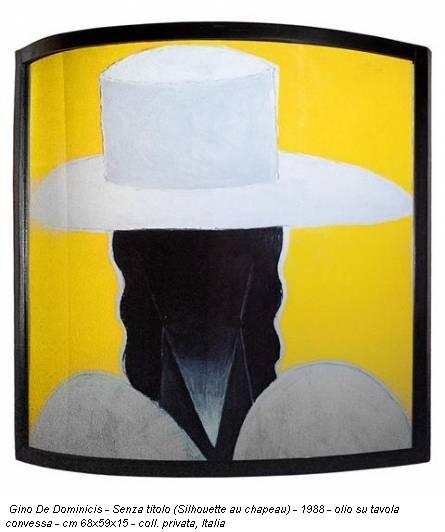 Gino De Dominicis - Senza titolo (Silhouette au chapeau) - 1988 - olio su tavola convessa - cm 68x59x15 - coll. privata, Italia