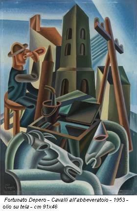 Fortunato Depero - Cavalli all'abbeveratoio - 1953 - olio su tela - cm 91x46