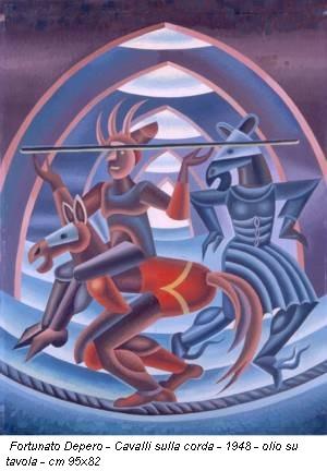 Fortunato Depero - Cavalli sulla corda - 1948 - olio su tavola - cm 95x82