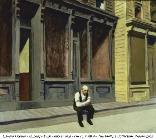 Edward Hopper - Sunday - 1926 - olio su tela - cm 73,7x86,4 - The Phillips Collection, Washington