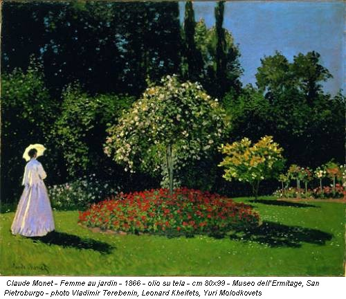 Claude Monet - Femme au jardin - 1866 - olio su tela - cm 80x99 - Museo dell'Ermitage, San Pietroburgo - photo Vladimir Terebenin, Leonard Kheifets, Yuri Molodkovets