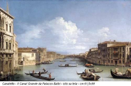 Canaletto - Il Canal Grande da Palazzo Balbi - olio su tela - cm 61,5x99