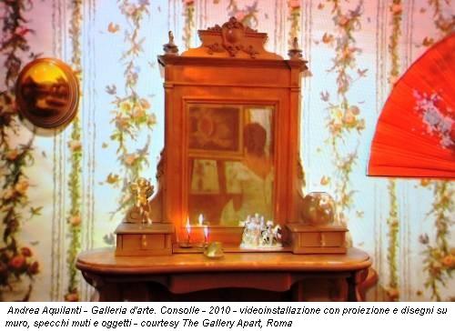 Andrea Aquilanti - Galleria d'arte. Consolle - 2010 - videoinstallazione con proiezione e disegni su muro, specchi muti e oggetti - courtesy The Gallery Apart, Roma