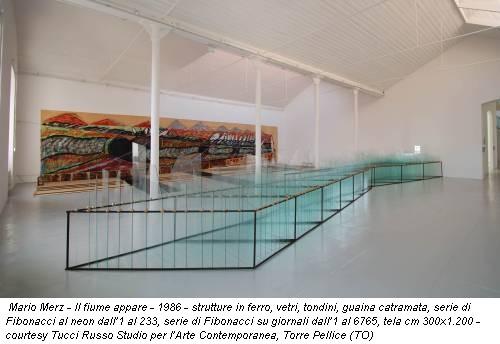 Mario Merz - Il fiume appare - 1986 - strutture in ferro, vetri, tondini, guaina catramata, serie di Fibonacci al neon dall'1 al 233, serie di Fibonacci su giornali dall'1 al 6765, tela cm 300x1.200 - courtesy Tucci Russo Studio per l'Arte Contemporanea, Torre Pellice (TO)