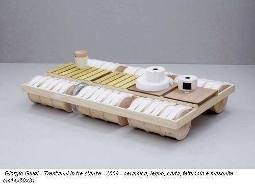 Giorgio Guidi - Trent'anni in tre stanze - 2009 - ceramica, legno, carta, fettuccia e masonite - cm14x50x31