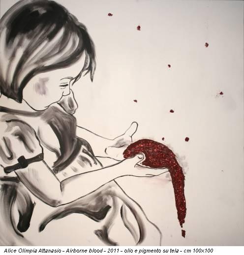 Alice Olimpia Attanasio - Airborne blood - 2011 - olio e pigmento su tela - cm 100x100