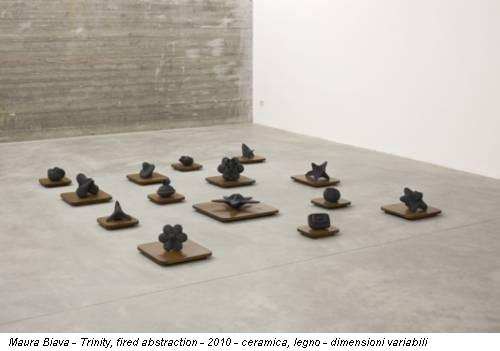 Maura Biava - Trinity, fired abstraction - 2010 - ceramica, legno - dimensioni variabili