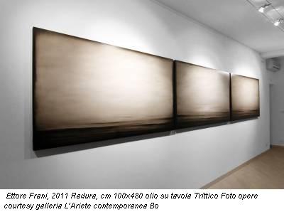 Ettore Frani, 2011 Radura, cm 100x480 olio su tavola Trittico Foto opere courtesy galleria L'Ariete contemporanea Bo
