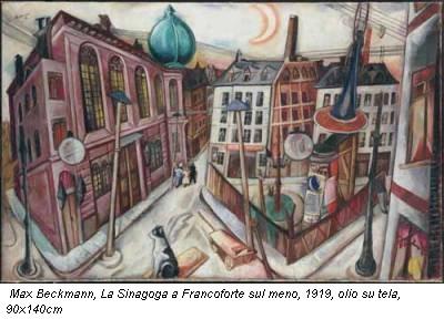 Max Beckmann, La Sinagoga a Francoforte sul meno, 1919, olio su tela, 90x140cm