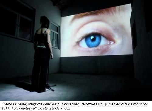Marco Lamanna, fotografia dalla video installazione interattiva One Eyed an Aesthetic Experience, 2011. Foto courtesy ufficio stampa Ida Tricoli