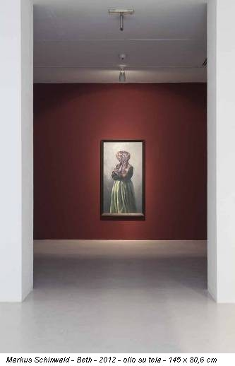 Markus Schinwald - Beth - 2012 - olio su tela - 145 x 80,6 cm