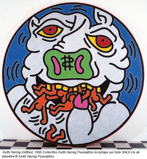 Keith Haring Untitled, 1988 Collection Keith Haring Foundation Acrylique sur toile 304,8 cm de diamètre © Keith Haring Foundation