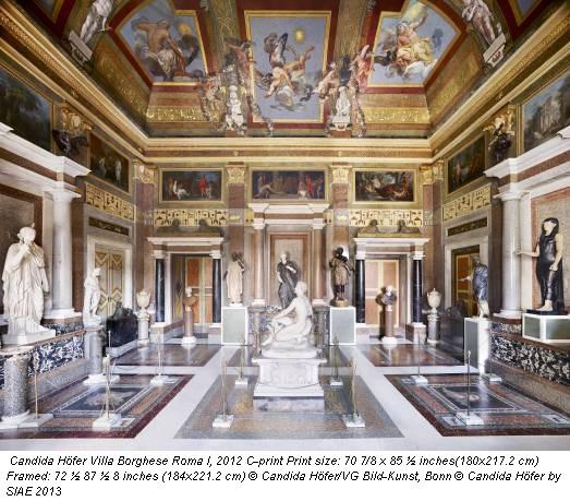 Candida Höfer Villa Borghese Roma I, 2012 C-print Print size: 70 7/8 x 85 ½ inches(180x217.2 cm) Framed: 72 ½ 87 ½ 8 inches (184x221.2 cm) © Candida Höfer/VG Bild-Kunst, Bonn © Candida Höfer by SIAE 2013