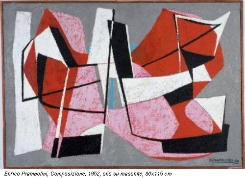 Enrico Prampolini, Composizione, 1952, olio su masonite, 80x115 cm