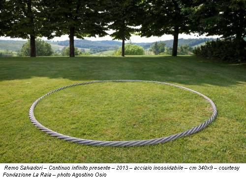 Remo Salvadori – Continuo infinito presente – 2013 – acciaio inossidabile – cm 340x9 – courtesy Fondazione La Raia – photo Agostino Osio