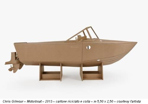 Chris Gilmour – Motorboat – 2013 – cartone riciclato e colla – m 5,50 x 2,50 – courtesy l'artista