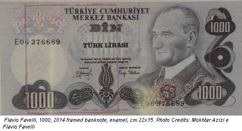 Flavio Favelli, 1000, 2014 framed banknote, enamel, cm 22x15. Photo Credits: Mokhtar Azizi e Flavio Favelli