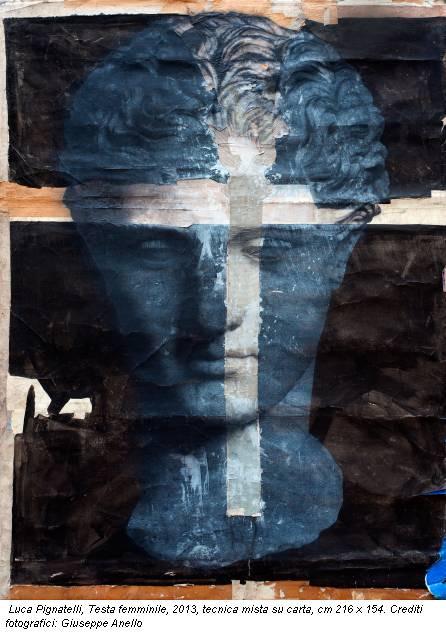 Luca Pignatelli, Testa femminile, 2013, tecnica mista su carta, cm 216 x 154. Crediti fotografici: Giuseppe Anello