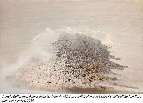 Angelo Bellobono, Ramapough territory, 61x92 cm, acrylic, glue and Lenape's soil polluted by Ford plants on canvas, 2014