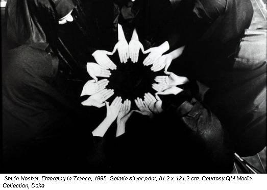 Shirin Neshat, Emerging in Trance, 1995. Gelatin silver print, 81.2 x 121.2 cm. Courtesy QM Media Collection, Doha