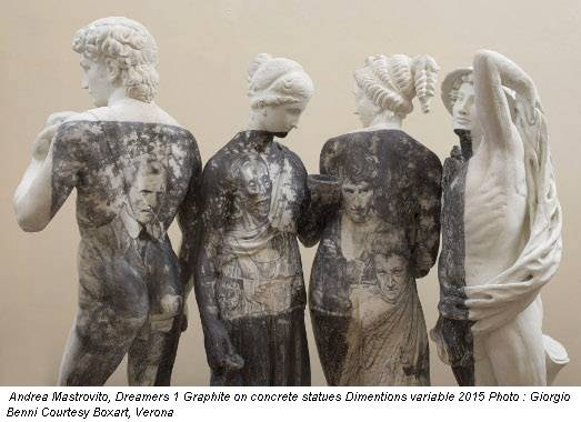 Andrea Mastrovito, Dreamers 1 Graphite on concrete statues Dimentions variable 2015 Photo : Giorgio Benni Courtesy Boxart, Verona