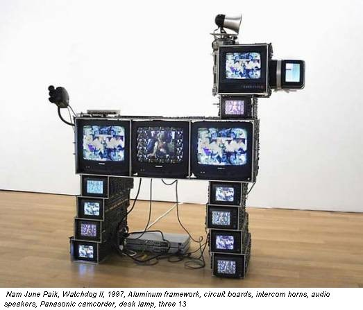 Nam June Paik, Watchdog II, 1997, Aluminum framework, circuit boards, intercom horns, audio speakers, Panasonic camcorder, desk lamp, three 13