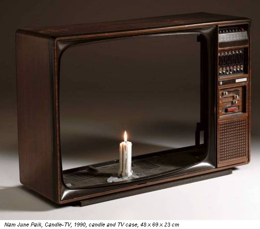Nam June Paik, Candle-TV, 1990, candle and TV case, 48 x 69 x 23 cm