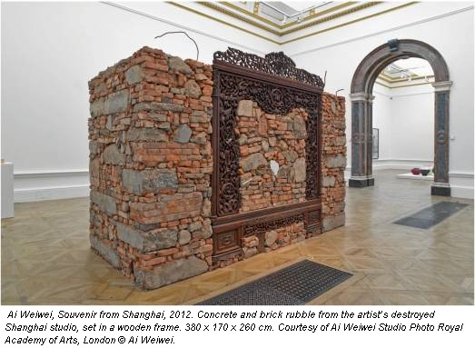 Ai Weiwei, Souvenir from Shanghai, 2012. Concrete and brick rubble from the artist's destroyed Shanghai studio, set in a wooden frame. 380 x 170 x 260 cm. Courtesy of Ai Weiwei Studio Photo Royal Academy of Arts, London © Ai Weiwei.