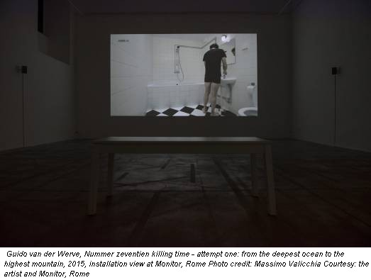 Guido van der Werve, Nummer zeventien killing time - attempt one: from the deepest ocean to the highest mountain, 2015, installation view at Monitor, Rome Photo credit: Massimo Valicchia Courtesy: the artist and Monitor, Rome