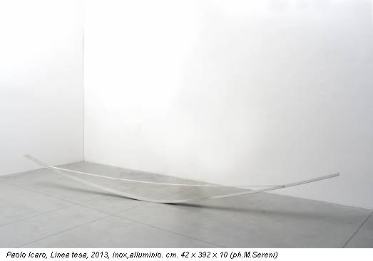 Paolo Icaro, Linea tesa, 2013, inox,alluminio. cm. 42 x 392 x 10 (ph.M.Sereni)
