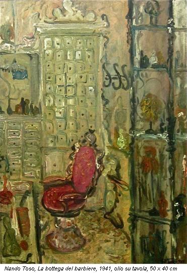 Nando Toso, La bottega del barbiere, 1941, olio su tavola, 50 x 40 cm