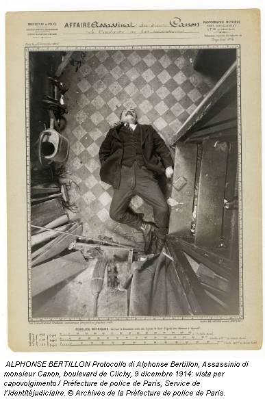 ALPHONSE BERTILLON Protocollo di Alphonse Bertillon, Assassinio di monsieur Canon, boulevard de Clichy, 9 dicembre 1914: vista per capovolgimento / Préfecture de police de Paris, Service de l'Identitéjudiciaire. © Archives de la Préfecture de police de Paris.