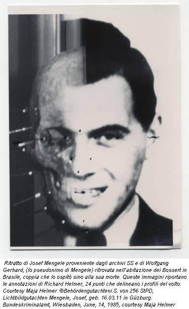 Ritratto di Josef Mengele proveniente dagli archivi SS e di Wolfgang Gerhard, (lo pseudonimo di Mengele) ritrovata nell'abitazione dei Bossert in Brasile, coppia che lo ospitò sino alla sua morte. Queste immagini riportano le annotazioni di Richard Helmer, 24 punti che delineano i profili del volto. Courtesy Maja Helmer. ©Behördengutachteni.S. von 256 StPD, Lichtbildgutachten Mengele, Josef, geb. 16.03.11 in Güzburg. Bundeskriminalamt, Wiesbaden, June, 14, 1985, courtesy Maja Helmer