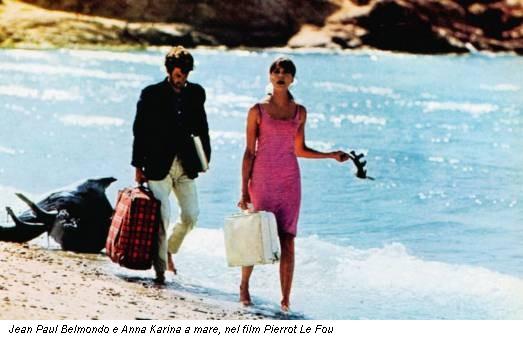 Jean Paul Belmondo e Anna Karina a mare, nel film Pierrot Le Fou