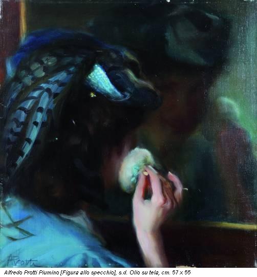 Alfredo Protti Piumino [Figura allo specchio], s.d. Olio su tela, cm. 57 x 55