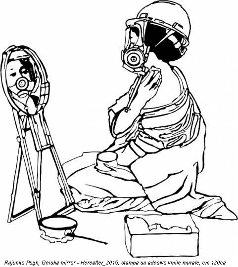 Rujunko Pugh, Geisha mirror - Hereafter_2015, stampa su adesivo vinile murale, cm 120ca