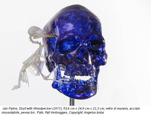 Jan Fabre, Skull with Woodpecker (2017), 53,6 cm x 24,9 cm x 22,3 cm, vetro di murano, acciaio inossidabile, penna bic. Foto: Pat Verbruggen, Copyright: Angelos bvba