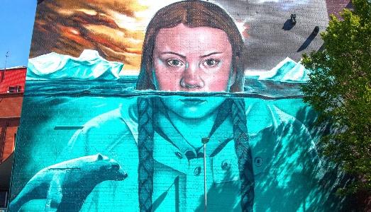 Greta Thunberg diventa un murales