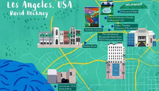 Perdersi a Los Angeles, con la mappa di David Hockney