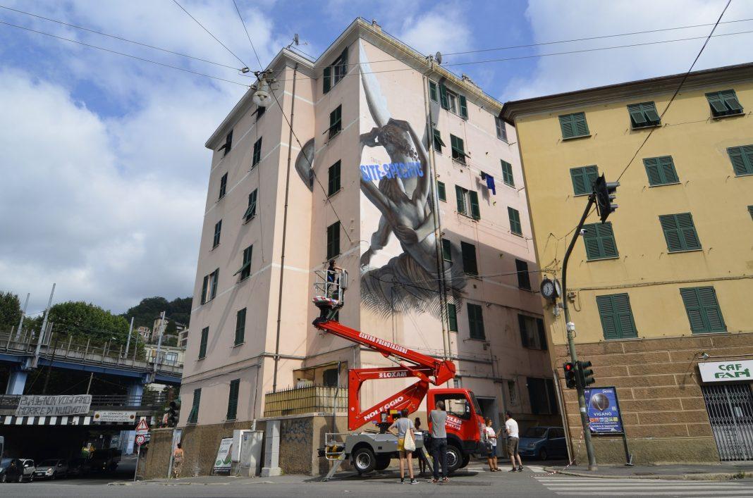 L'opera di Ozmo in ricordo del Ponte Morandi