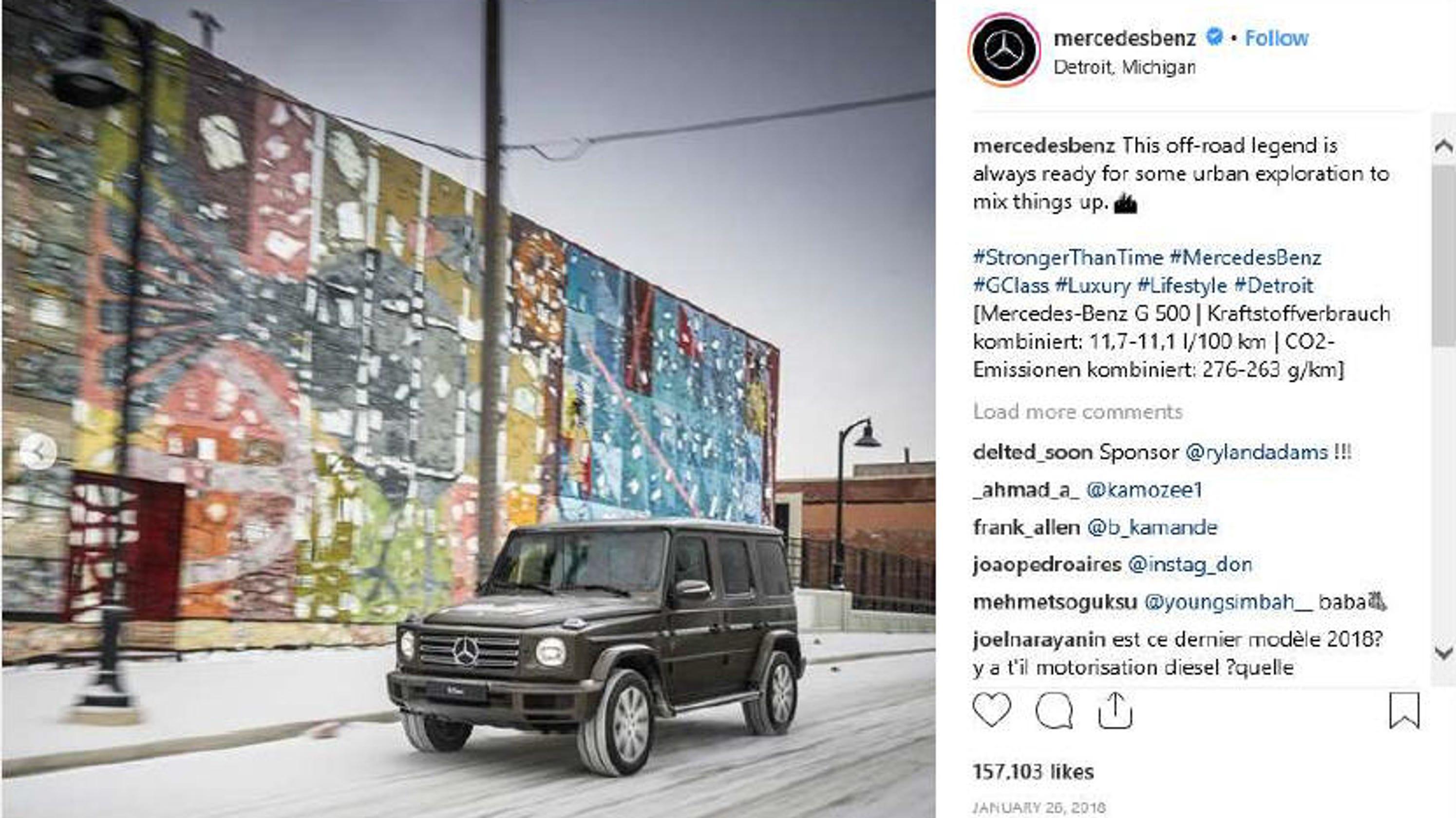 Opera di Street Art a Detroit, nella pubblicità di Mercedes-Benz