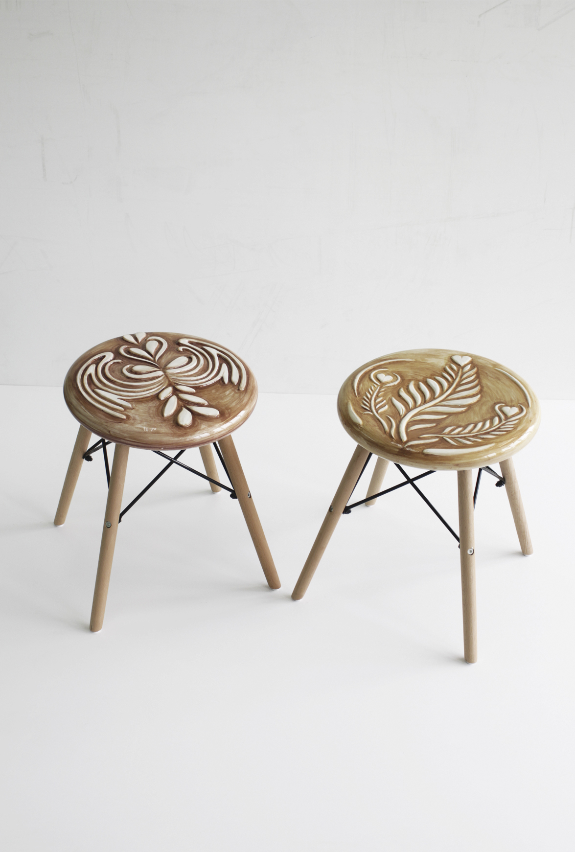 Diego Cibelli Generosity Chairs , 2018 - 2019 ceramic and wood Courtesy the artis