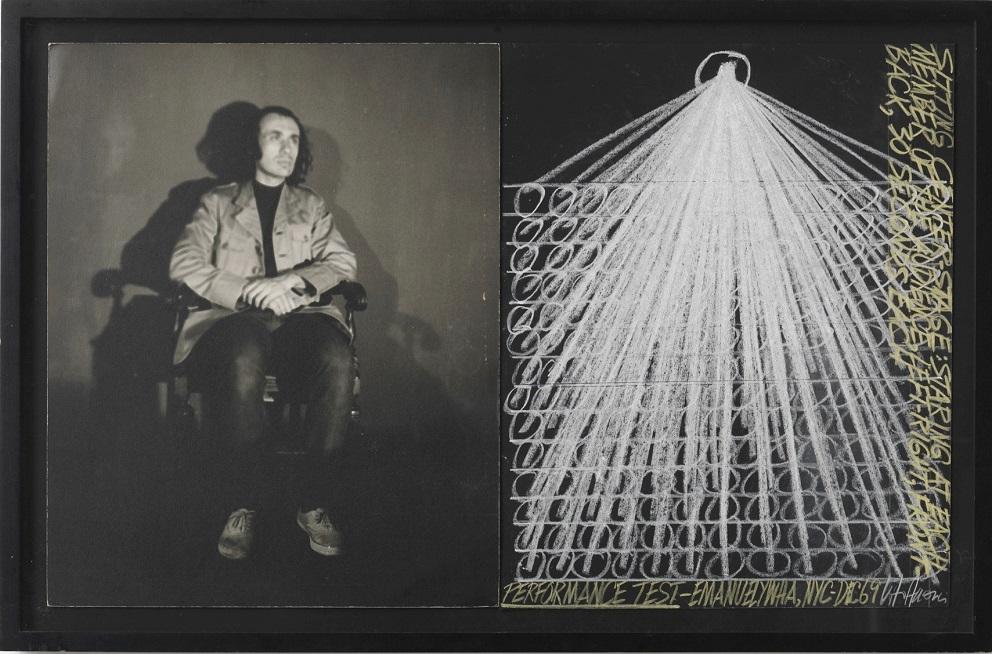 Vito Hannibal Acconci Performance test, 1969 Stampa ai sali d'argento in bianco e nero / Gelatin silver print black and white 53.5 x 84 cm Courtesy Galleria Fumagalli, Milano