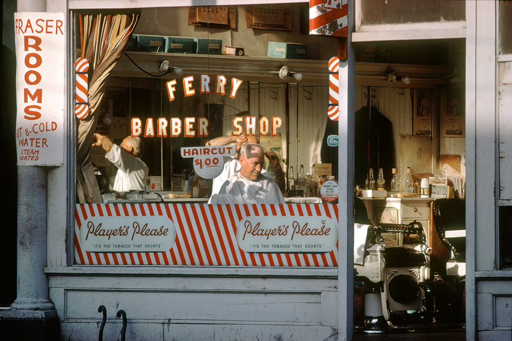 Ferry barber shop, 1959. (Fred Herzog, Equinox gallery)