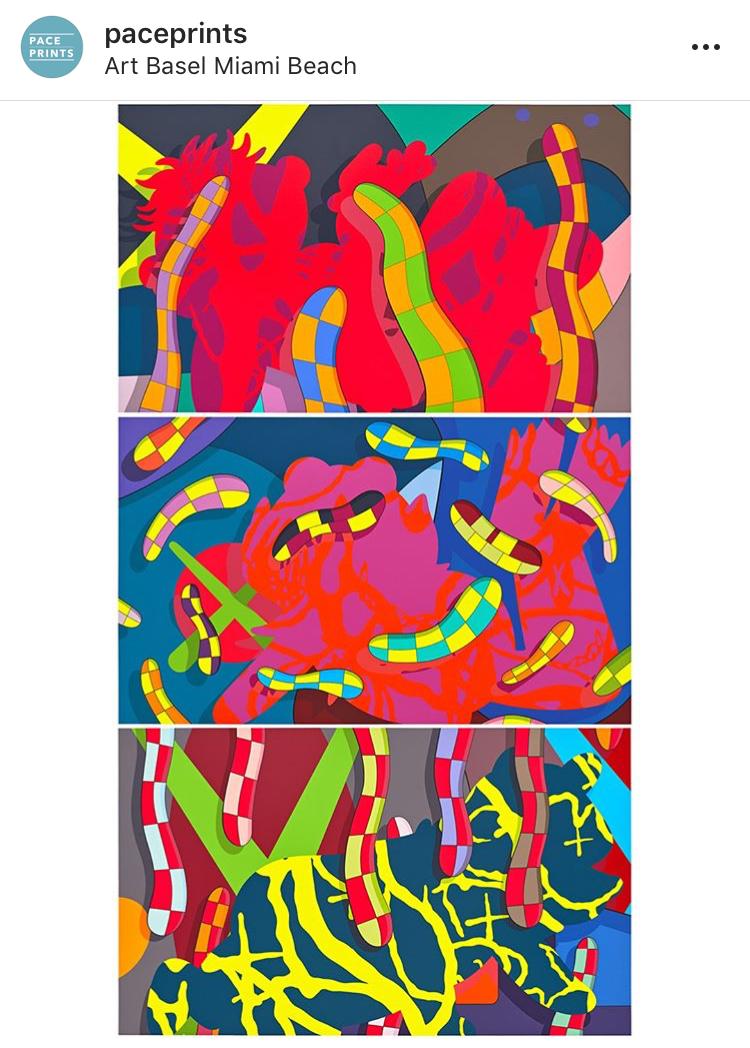 Jeff Koons, KAWS ad ArtBasel Miami Beach. Photo Via Pace Prints Instagram account