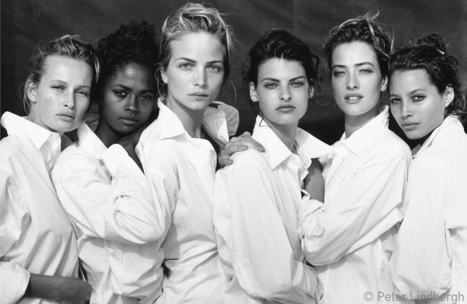 Estelle Lefebure, Karen Alexander, Rachel Williams, Linda Evangelista, Tatjana Patitz, Christy Turlington, Santa Monica, California, USA, 1998