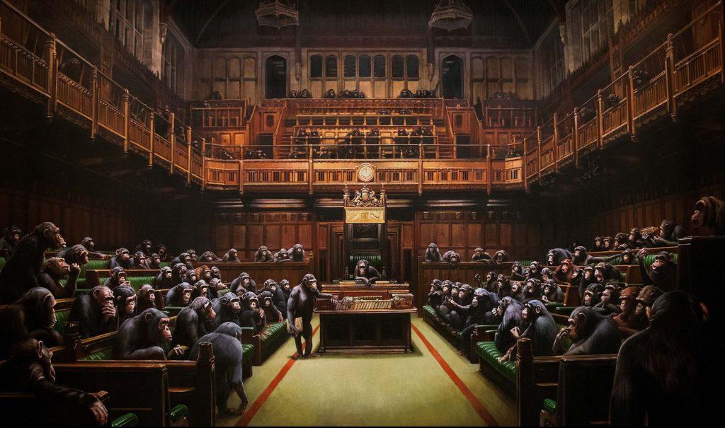 L'opera Devolved Parliament di Banksy messa all'asta da Sotheby's. Courtesy of the artist.