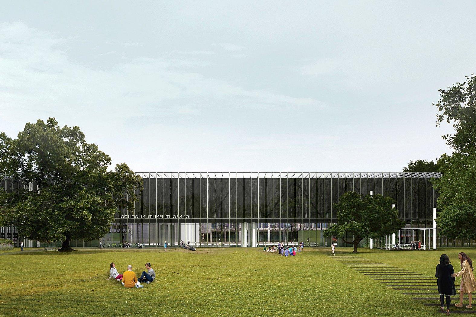Bauhaus Museum Dessau, vista dal parco cittadino (courtesy of BMD Foundation)