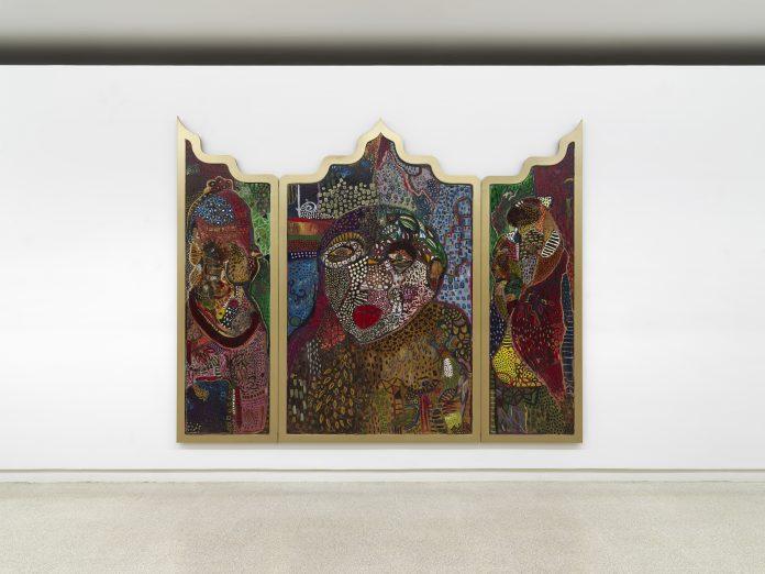 Mona Osman The Trinity of the Constant Chase 2019 olio e tecnica mista su tavola / oil and mixed media on panel 240 x 300 cm © the artist Ph. Dario Lasagni