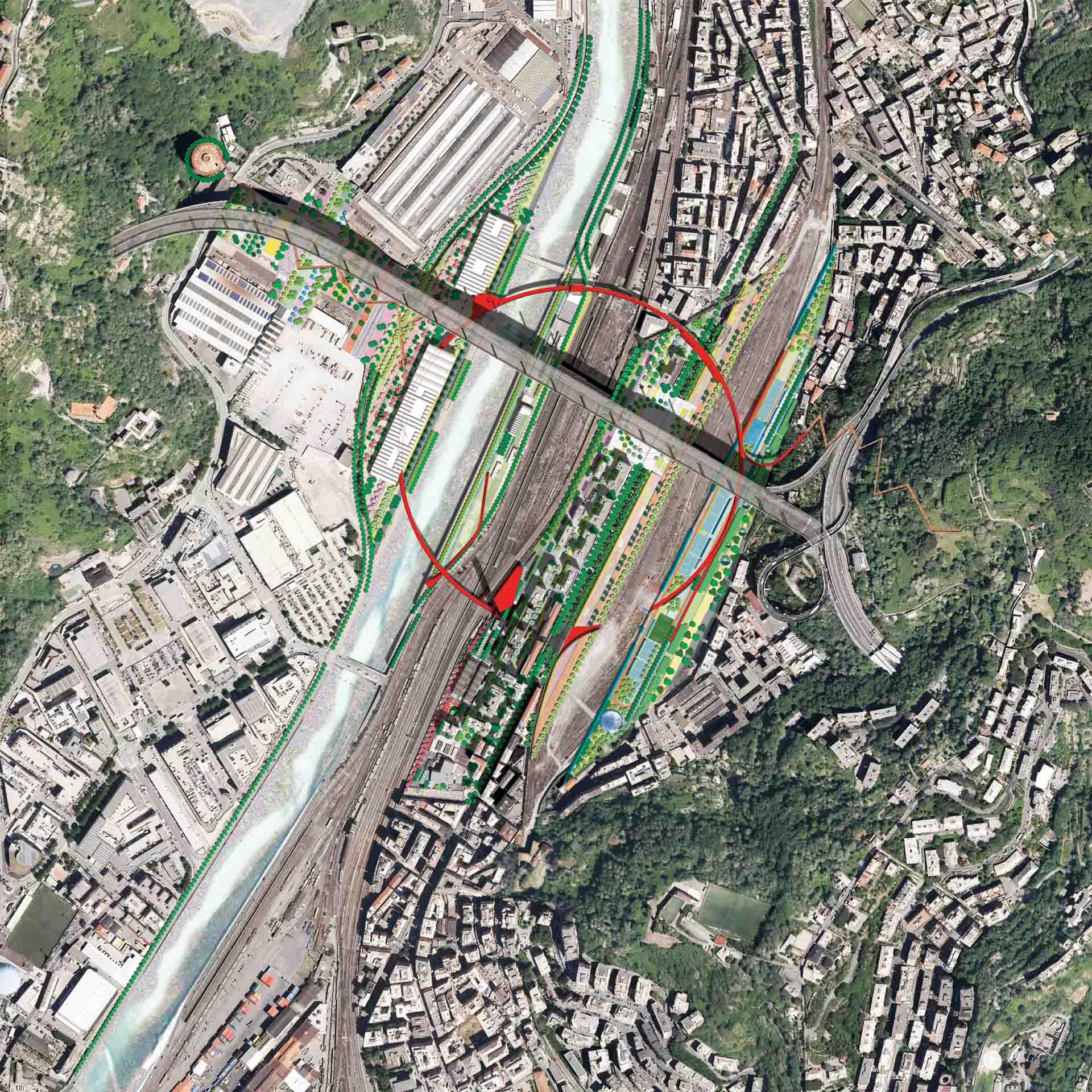 Masterplan: il Cerchio Rosso dall'alto (Courtesy: Stefano Boeri Architetti)